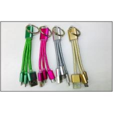 Кабель USB 3v1 Micro USB-i6-Type-C 20см TPE desh