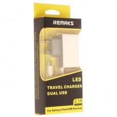 СЗУ REMAKS AC-70 LED Micro USB + 2USB 2A
